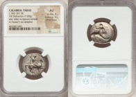 CALABRIA. Tarentum. Ca. 302-281 BC. AR stater or didrachm (23mm, 7.69 gm, 6h). NGC AU 4/5 - 3/5, Fine Style. Warrior on horseback right, spearing down...