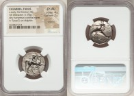 CALABRIA. Tarentum. Ca. 281-240 BC. AR stater or didrachm (21mm, 7.70 gm, 6h). NGC Choice AU 4/5 - 2/5, brushed. Cratinos, Age-, and Zor-, magistrates...