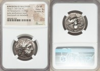 MACEDONIAN KINGDOM. Philip II (359-336 BC). AR tetradrachm (25mm, 14.36 gm, 3h). NGC Choice VF 4/5 - 4/5. Lifetime or early posthumous issue of Amphip...
