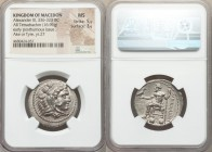 MACEDONIAN KINGDOM. Alexander III the Great (336-323 BC). AR tetradrachm (27mm, 16.96 gm, 12h). NGC MS 5/5 - 3/5. Posthumous issue of Ake or Tyre, dat...