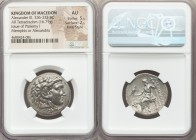 MACEDONIAN KINGDOM. Alexander III the Great (336-323 BC). AR tetradrachm (26mm, 16.71 gm, 11h). NGC AU 5/5 - 2/5, Fine Style. Early Ptolemaic issue of...
