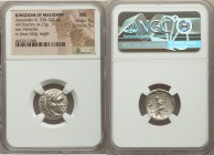 MACEDONIAN KINGDOM. Alexander III the Great (336-323 BC). AR drachm (17mm, 4.27 gm, 11h). NGC MS 5/5 - 5/5. Sardes mint. Struck under Menander, circa ...
