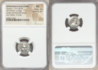 MACEDONIAN KINGDOM. Perseus (179-168 BC). AR drachm (16mm, 2.64 gm, 4h). NGC MS 5/5 - 4/5. Pseudo-Rhodian, Greek mercenaries issue, ca. 175-170 BC. Er...