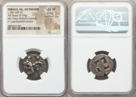 THRACIAN ISLANDS. Thasos. Ca. 525-450 BC. AR stater (22mm, 8.59 gm). NGC Choice VF 5/5 - 3/5. Thasian standard. Nude ithyphallic satyr running right, ...