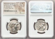 THRACIAN KINGDOM. Lysimachus (323-281 BC). AR tetradrachm (29mm, 17.07 gm, 1h). NGC Choice XF 5/5 - 4/5. Lampsacus, 297/6-281 BC. Diademed head of the...