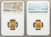 THRACIAN DYNASTS. Coson (ca. after 54 BC). AV stater (19mm, 8.49 gm, 11h). NGC  MS 5/5 - 5/5. Ca. 44-42 BC. Roman consul (L. Junius Brutus) walking le...