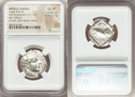 ATTICA. Athens. Ca. 465-455 BC. AR tetradrachm (23mm, 17.17 gm, 8h). NGC Choice XF 4/5 - 3/5. Head of Athena right, wearing crested Attic helmet ornam...