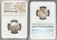 ATTICA. Athens. Ca. 455-440 BC. AR tetradrachm (23mm, 17.18 gm, 12h). NGC XF 5/5 - 3/5. Early transitional issue. Head of Athena right, wearing creste...