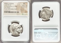 ATTICA. Athens. Ca. 440-404 BC. AR tetradrachm (24mm, 17.22 gm, 4h). NGC MS 5/5 - 4/5. Mid-mass coinage issue. Head of Athena right, wearing crested A...