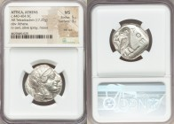 ATTICA. Athens. Ca. 440-404 BC. AR tetradrachm (25mm, 17.22 gm, 5h). NGC MS 5/5 - 3/5, test cut. Mid-mass coinage issue. Head of Athena right, wearing...