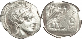 ATTICA. Athens. Ca. 440-404 BC. AR tetradrachm (27mm, 17.19 gm, 5h). NGC Choice AU 5/5 - 5/5. Mid-mass coinage issue. Head of Athena right, wearing cr...
