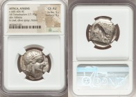 ATTICA. Athens. Ca. 440-404 BC. AR tetradrachm (25mm, 17.19 gm, 4h). NGC Choice AU 5/5 - 5/5. Mid-mass coinage issue. Head of Athena right, wearing cr...