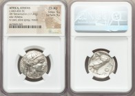 ATTICA. Athens. Ca. 440-404 BC. AR tetradrachm (25mm, 17.20 gm, 1h). NGC Choice AU 5/5 - 5/5. Mid-mass coinage issue. Head of Athena right, wearing cr...