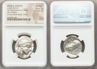 ATTICA. Athens. Ca. 440-404 BC. AR tetradrachm (24mm, 17.20 gm, 12h). NGC Choice AU 5/5 - 5/5. Mid-mass coinage issue. Head of Athena right, wearing c...