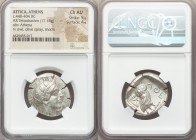 ATTICA. Athens. Ca. 440-404 BC. AR tetradrachm (26mm, 17.15 gm, 10h). NGC Choice AU 5/5 - 4/5. Mid-mass coinage issue. Head of Athena right, wearing c...