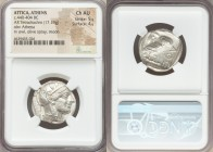 ATTICA. Athens. Ca. 440-404 BC. AR tetradrachm (25mm, 17.19 gm, 7h). NGC Choice AU 5/5 - 4/5. Mid-mass coinage issue. Head of Athena right, wearing cr...