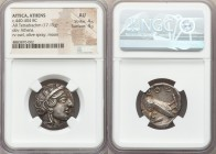 ATTICA. Athens. Ca. 440-404 BC. AR tetradrachm (22mm, 17.15 gm, 9h). NGC AU 4/5 - 4/5. Mid-mass coinage issue. Head of Athena right, wearing crested A...