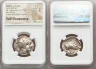 ATTICA. Athens. Ca. 440-404 BC. AR tetradrachm (25mm, 17.15 gm, 8h). NGC XF 5/5 - 4/5. Mid-mass coinage issue. Head of Athena right, wearing crested A...