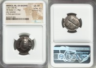 SARONIC ISLANDS. Aegina. Ca. 457-350 BC. AR stater (22mm, 11.78 gm). NGC Choice VF 4/5 - 3/5. Land tortoise with segmented shell, seen from above / Fi...