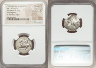 CORINTHIA. Corinth. Ca. 375-345 BC. AR stater (21mm, 8.53 gm, 6h). NGC Choice AU 5/5 - 3/5. Pegasus flying left, ϙ below / Head of Athena left wearing...
