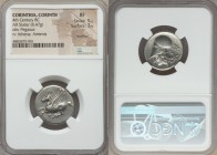 CORINTHIA. Corinth. Ca. 375-345 BC. AR stater (22mm, 8.47 gm, 6h). NGC XF 5/5 - 3/5, brushed. Pegasus flying left, ϙ below / Head of Athena left, wear...