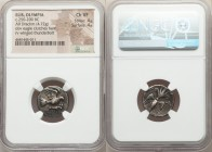 ELIS. Olympia. Ca. 250-200 BC. AR drachm (18mm, 4.72 gm, 2h). NGC Choice VF 4/5 - 4/5. Eagle flying right, clutching hare in talons / F-A, winged thun...
