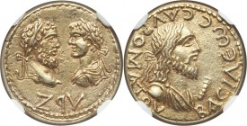 BOSPORUS KINGDOM. Sauromates II (AD 174-211), with Septimius Severus and Caracalla. EL stater (18mm, 7.74 gm, 12h). NGC AU S 5/5 - 4/5. Dated Year 497...