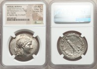 AEOLIS. Myrina. Ca. 155-145 BC. AR tetradrachm (35mm, 16.79 gm, 11h). NGC Choice AU 5/5 - 3/5. Laureate head of Apollo right / MYPINAIΩN, Apollo Gryni...