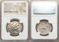 IONIA. Miletus. Ca. late 3rd-early 2nd centuries BC. AR tetradrachm (32mm, 17.06 gm, 1h). NGC Choice AU 4/5 - 5/5. Posthumous issue in the name and ty...