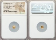 IONIA. Phocaea. Ca. 625-522 BC. EL 1/24 stater or myshemihecte (7mm, 0.64 gm). NGC VF 5/5 - 4/5. Head of griffin right, mouth open / Incuse square wit...