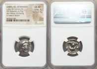 CARIAN ISLANDS. Rhodes. Ca. late 4th century BC. AR didrachm (18mm, 6.79 gm, 1h). NGC Choice XF 5/5 - 3/5. Head of Helios facing slightly right / POΔI...