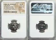 CARIAN ISLANDS. Rhodes. Ca. 250-200 BC. AR didrachm (20mm, 6.65 gm, 12h). NGC Choice XF 5/5 - 4/5. Mnasimachos, magistrate. Radiate head of Helios fac...