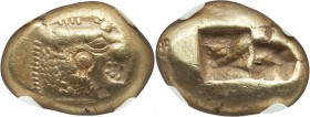 LYDIAN KINGDOM. Alyattes or Walwet (ca. 610-546 BC). EL third stater or trite (14mm, 4.72 gm). NGC XF 4/5 - 3/5, countermarks. Uninscribed, Lydo-Miles...