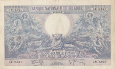 Belgium, 10.000 Francs or 2000 Belgas, 1938, ÇOK ÇOK TEMİZ, p105