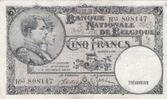 Belgium, 5 Francs, 1938, XF, p108
