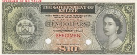 Belize, 10 Dollars, 1974, UNC, p36cts, COLOR TRİAL SPECİMEN