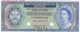 Belize, 20 Dollars, 1974, UNC, p37cts, COLOR TRİAL SPECİMEN