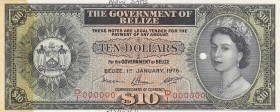Belize, 10 Dollars, 1976, AUNC, p36c, SPECIMEN