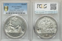 Satirical silver Medal 1774 MS63 PCGS, Mont.-2061, Julius-2750. 42mm. IRAM MERUERE TONANTIS. Minerva sitting on the right, showing a pyramid with a cr...