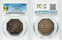 Ferdinand I silver Specimen Medal 1843 SP65 PCGS, Unlisted in Wurzbach; Unger 4374. 32mm. 17.51gm. Crowned coat of arms with two shield holders / JOAC...