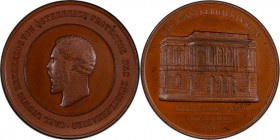 Karl Ludwig bronzed copper Specimen Medal 1868 SP64 PCGS, Hauser-2248, Wurzbach-4506. 53mm. By Oswald Steinböck. Head left / View of the Vienna Künstl...
