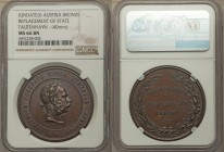 "Franz Joseph I bronze ""Replacement of State"" Medal ND (1874) MS66 Brown NGC, 40mm. 33.48gm. By Tautenhayn. Bust right / Four lines of text within laur..."