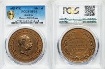 Franz Joseph I brass Specimen Medal ND (1874) SP64 PCGS, Hauser-2803. 30.72gm. By J. Tautenhayn. Head right / Legend in 4 lines within wreath.   HID09...