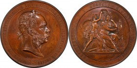 "Franz Joseph I bronze Specimen ""Honorary Prize of the Ministry of Commerce"" Medal 1878 SP63 Brown PCGS, Hauser-2794. 57.2 mm. 68.16gm. By Tautenhayn. ..."