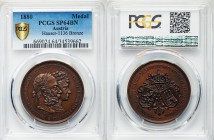 Franz Joseph I bronze Specimen Medal 1880 SP64 Brown PCGS, Hauser-1136. 41mm. 23.17gm. Conjoined busts of the imperial couple / Crown over the coats o...