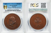 "Franz Joseph I bronzed copper Specimen ""National Exhibition Prize"" Medal 1891 SP65 PCGS, Hauser-3735. 34.47gm. Head right / Crowned double eagle.   HI..."