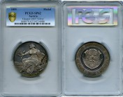 "Franz Joseph I silver ""Tyrolean National Exhibition"" Medal 1893 SP62 PCGS, Hauser-3607, Morosini-1686. 56mm. 54.10gm. By Dobihal. Female figure seated..."