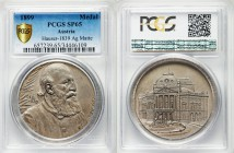"Ludwig Anzengruber silver Specimen ""10th Anniversary of Death and the Volkstheater Opening"" Medal 1899 SP65 PCGS, Hauser-1839, Wurzbach-347. 45.5mm. 3..."