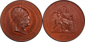 "Franz Joseph I bronze Specimen ""Honorary Prize of the Ministry of Commerce"" Medal 1906 SP63 Brown PCGS, Hauser-2794. 57.2mm. 71.14gm. By Tautenhayn. E..."