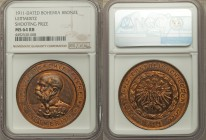 "Bohemia - Leitmeritz. Franz Josef I bronze ""Armed Forces Officer's Prize"" Medal 1911 MS64 Red and Brown NGC, 41mm. 34.71gm. OFFIZIERS SCHIESS VEREIN *..."